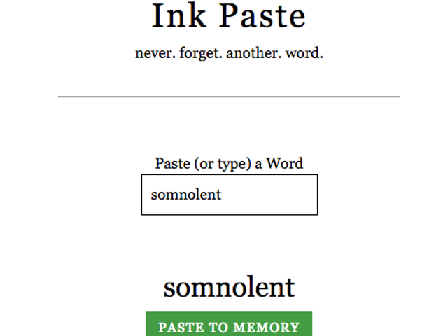Ink Paste Helps You Learn New Vocabulary Words as You Come Across Them