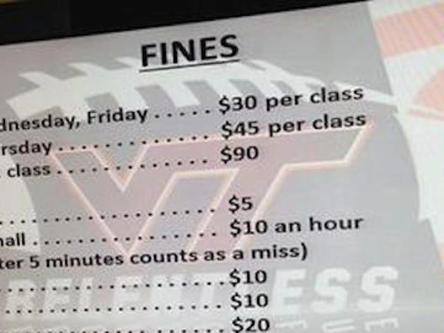 Ecco la lista di ridicole attenzioni che i giocatori di football di Virginia Tech sono stati oggetto di