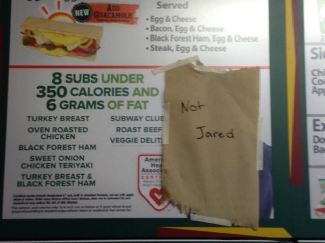 Subway Employee Gets Creative About the Company's Jared Problem