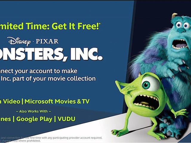 Free Digital Copy of Monsters, Inc. When You Link Disney Movies Anywhere to a New Retailer Account (US only, Probably).
