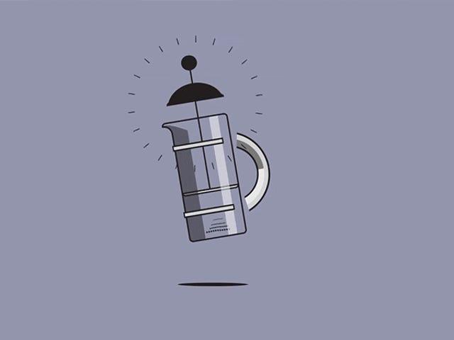 Söt animation visar olika sätt att göra kaffe