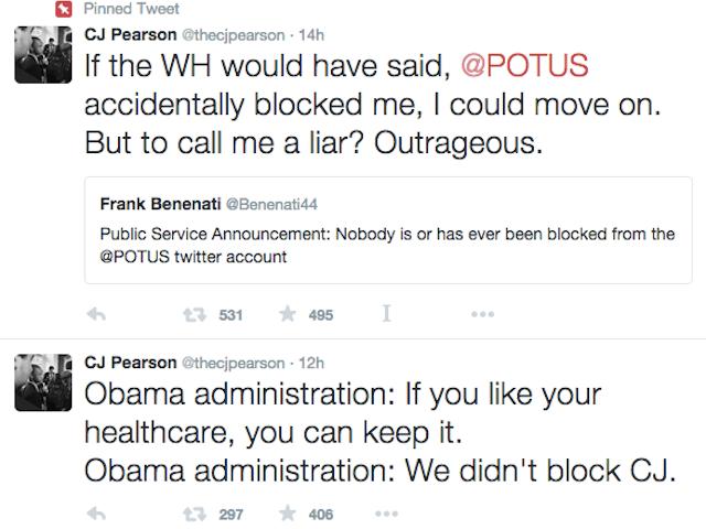 White House: Kid, der siger Obama blokeret ham på Twitter, er sandsynligvis liggende