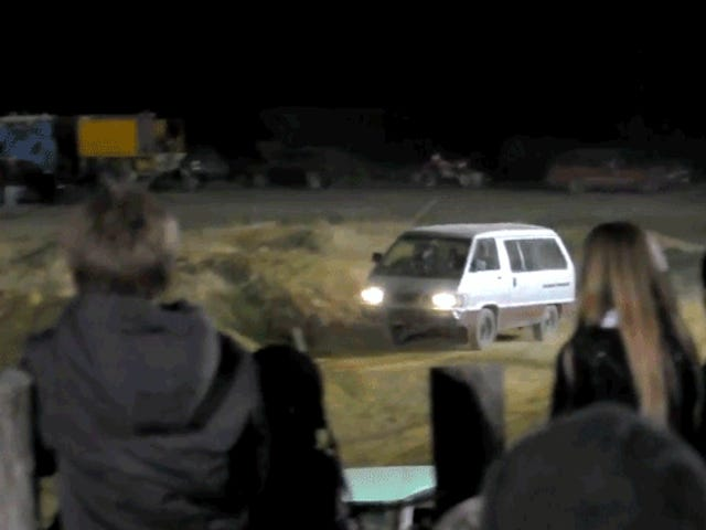The Glory Sheer Of Jumping A Toyota Van On A Motocross Track