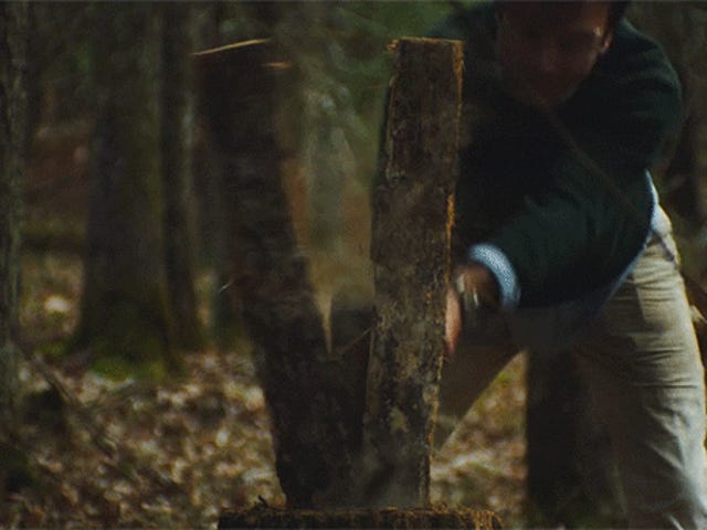 Cutting down a tree to make a stool in the woods is beautifully peaceful