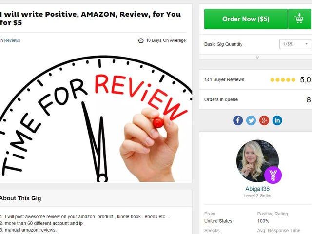 Amazon suger 1000 falska femstjärniga granskare