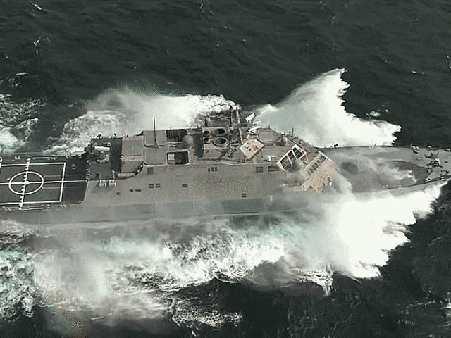 This Is The Littoral Combat Ship USS Milwaukee Running Flat Out At Full Throttle