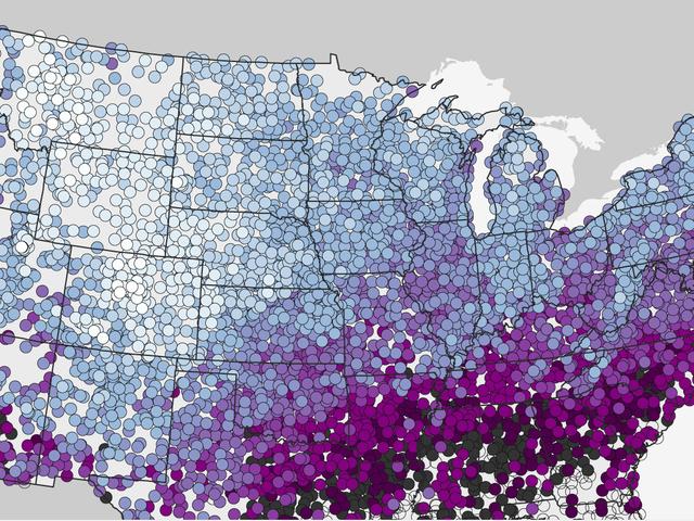看看这张美国第一场降雪地图,Ye Mighty和Despair