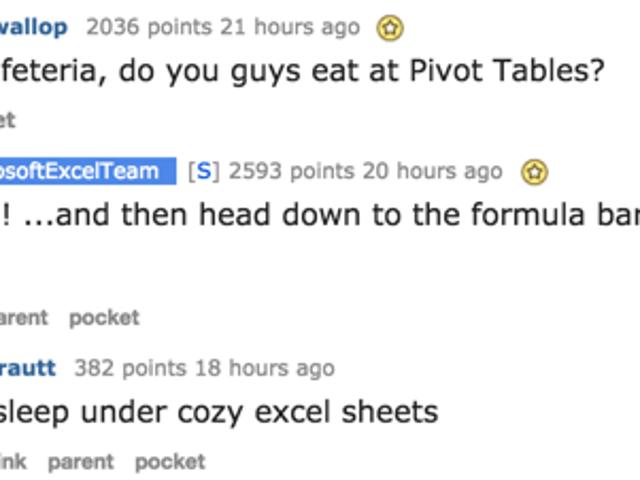 Excel 팀에게 아무 것도 묻지 않을 기회였습니다.