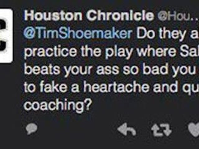 Houston Chronicle tilfeldigvis Urban Meyer, beklager