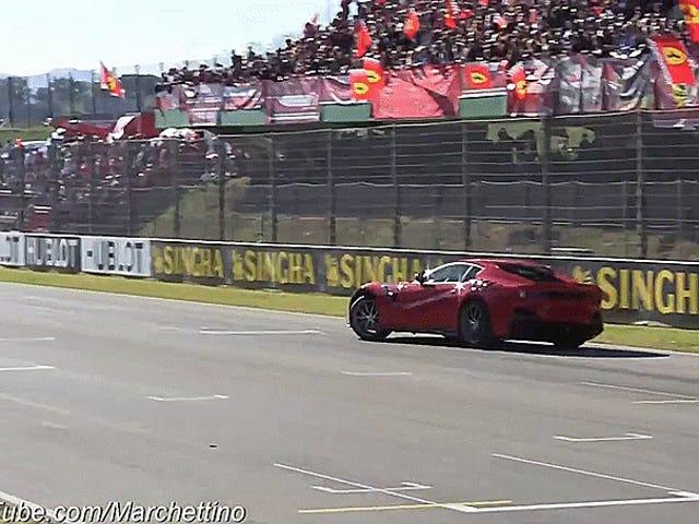 La Ferrari F12tdf ha debuttato ufficialmente al Mugello Circuit, Donuts And All