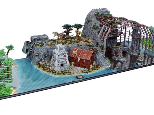 Dieser <i>Jurassic Park</i> Lego Diorama kombiniert alle vier Filme in einem massiven Display