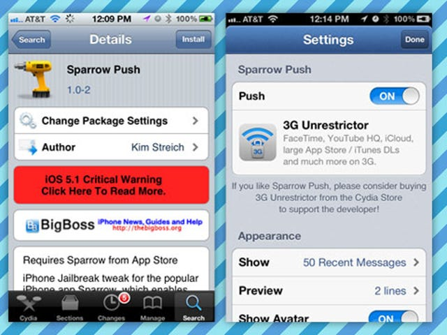 Sparrow Push Enables Push Notifications in Sparrow for iPhone (Jailbreak Required)