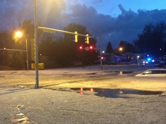 So Many Stones Fell in Last Night's Freak Hail Storm, They Flooded This Denver Intersection