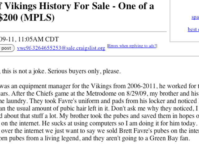 Brett Favre's Purported Pubes Are For Sale On Craigslist For $200 (Or Best Offer)