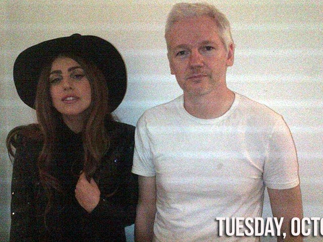 Lady Gaga Put on a Witch Hat and Had Dinner With Julian Assange