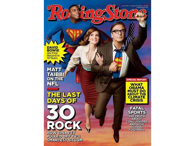WTF: Rolling Stone Cover Casts 30 Rock Men as Superheroes, Tina Fey as Damsel in Distress