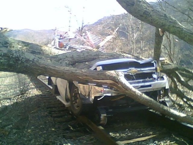 CSX Rail Truck Smashed In Weird West Virginia Accident