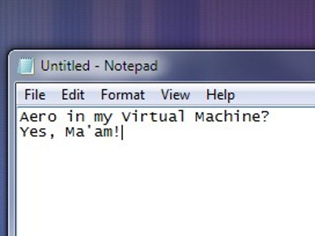 Enable Aero in a Virtual Machine Installation