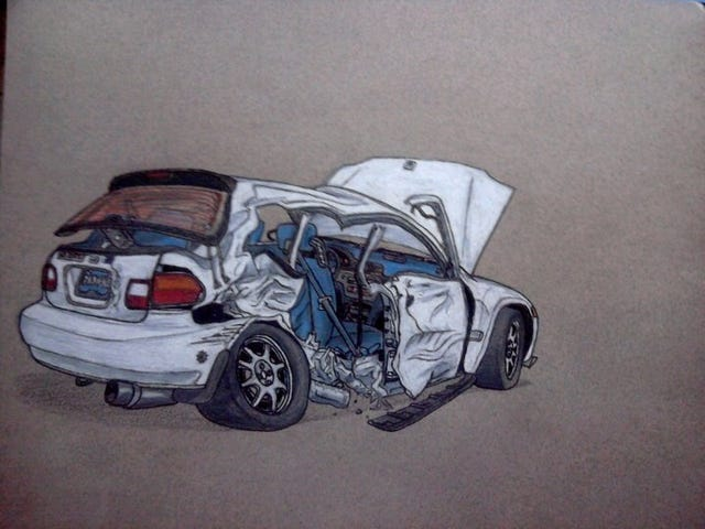 Some of my art- T-boned EG6 Civic