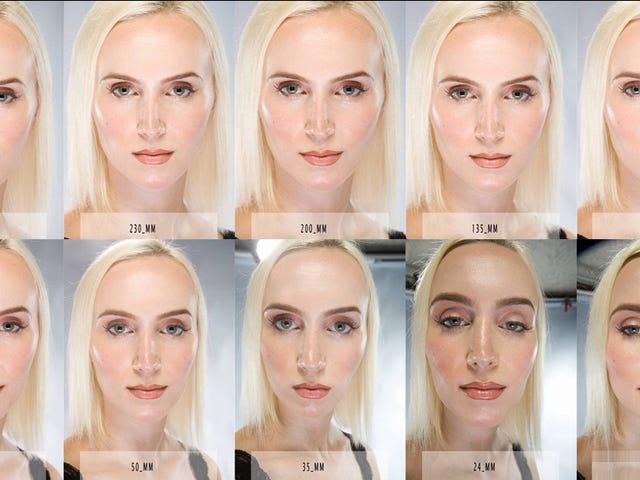 Questa immagine mostra come le lenti della fotocamera abbelliscono o sfigurano il tuo bel viso
