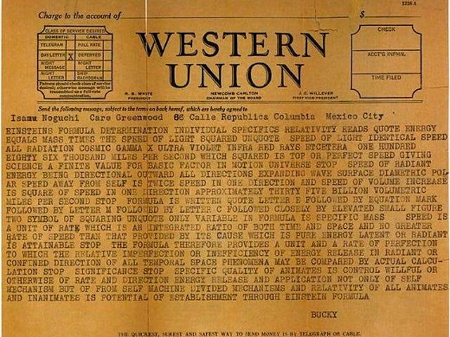 Telegrams from Buckminster Fuller were unintentionally hilarious