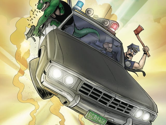 And now, Axe Cop riding his patrol car to destiny