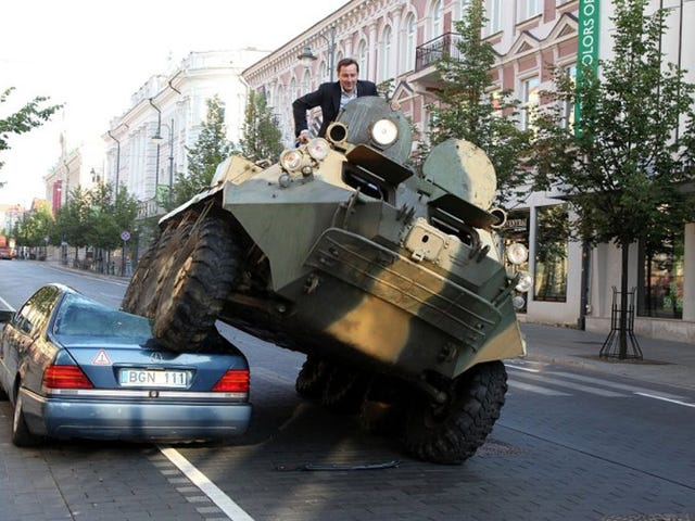 Mayor crushes misparked luxury car with troop carrier