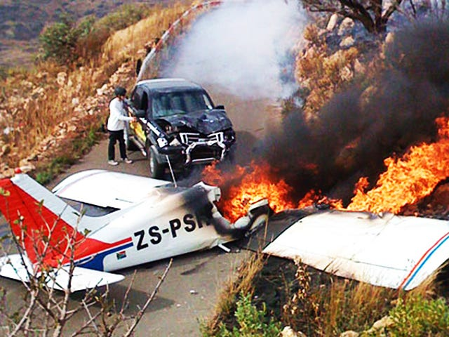 Plane Falls From South African Sky, Crashes Into Ford Ute, Fireball Ensues