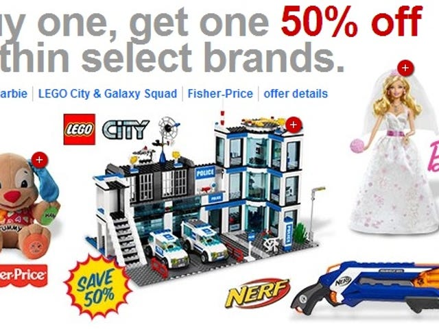 [GONE] Buy One, Get One 50% off Lego Sets and Nerf at Target