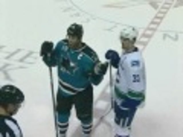 Joe Thornton Makes His Point By Repeatedly Shoving A Finger In Henrik Sedin's Face