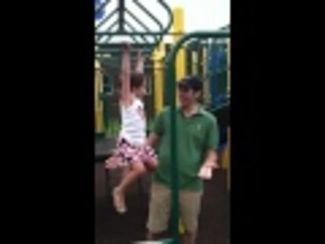 Watch a Little Girl On Monkey Bars Indecisively Yell At Her Dad