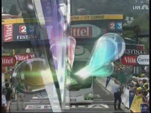 Bus Crashes Into Finish Line Banner At Tour De France