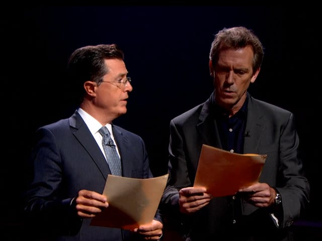 Hugh Laurie and Stephen Colbert Read Dirty Words and Make Us All Swoon