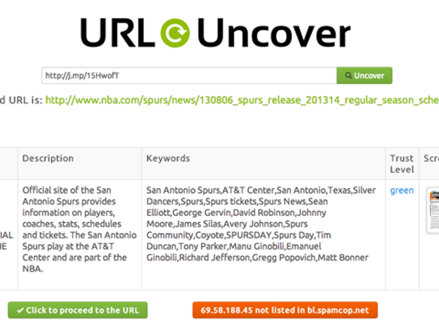 URL Uncover Scans Shortened Links For Safer Browsing