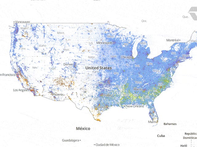 Zoom into this map to see every single person in the US by race
