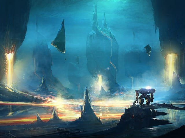 The mech stood alone among the floating pillars
