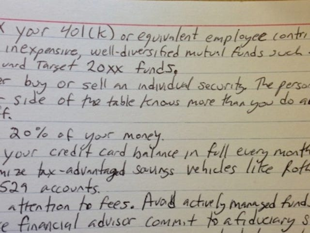 All the Financial Investment Advice You'll Ever Need on One Index Card