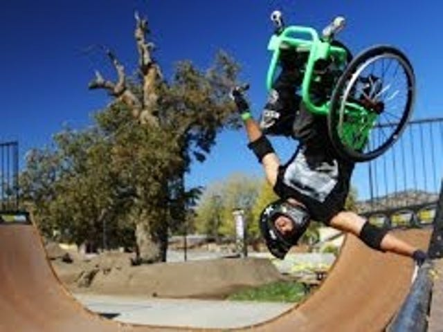 Inspiring guy uses his wheelchair to pull sweet skateboard tricks