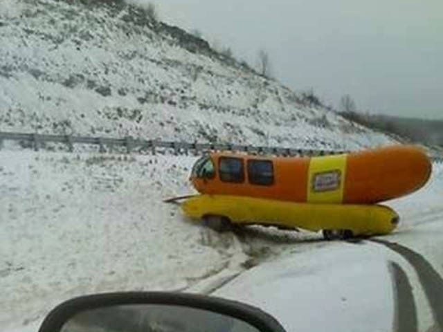 Wienermobile Has Exact Same Crash Five Years After First Crash