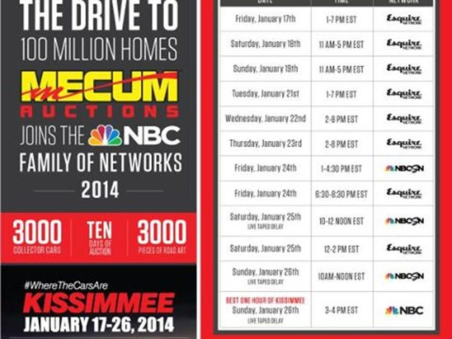 Mecum TV coverage moves to Esquire, NBC Sports Network, NBC.