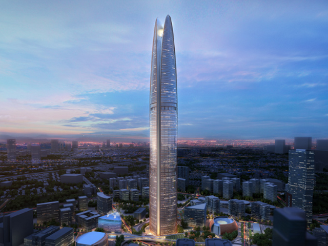 This gorgeous skyscraper is also a wind power plant