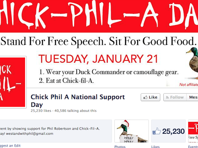 Idjits Support Bearded Reality TV Homophobe With 'Chick Phil A' Day