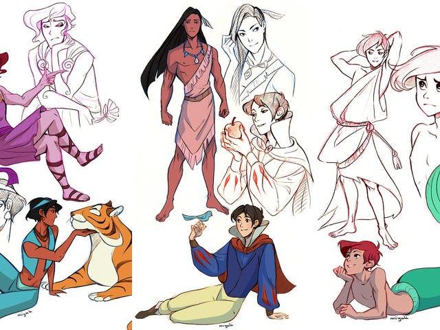 Artist perfectly captures genderswapped Disney princesses