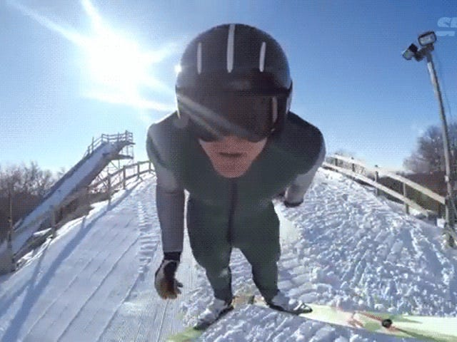 Ski jumping is so much better eating fried chicken nuggets