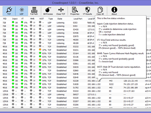 CrowdInspect Scans Active Programs for Malware