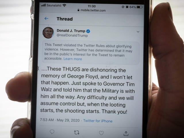 ट्विटर ने आधिकारिक व्हाइट हाउस ट्वीट को प्रदर्शनकारियों की हत्या के लिए कहा