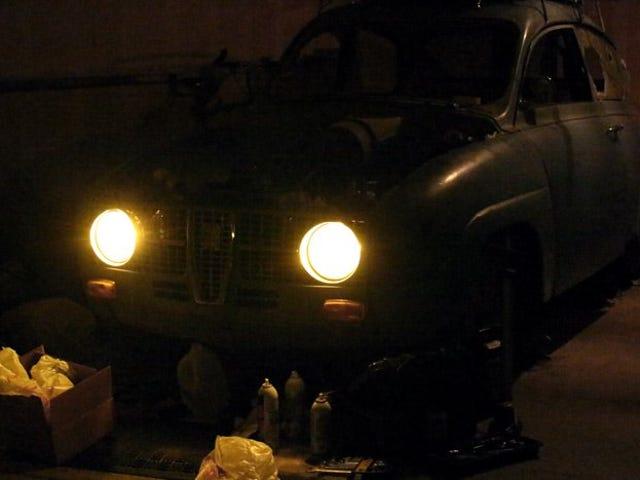 Headlights go on.