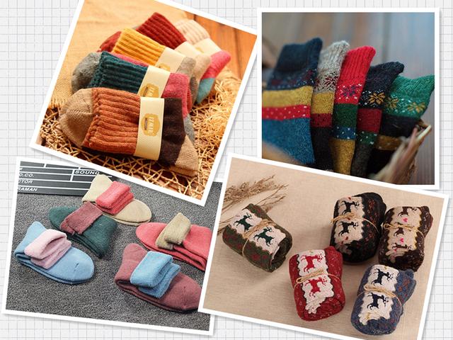 5 Packs of Thick Wool Winter Socks for Women $7.49