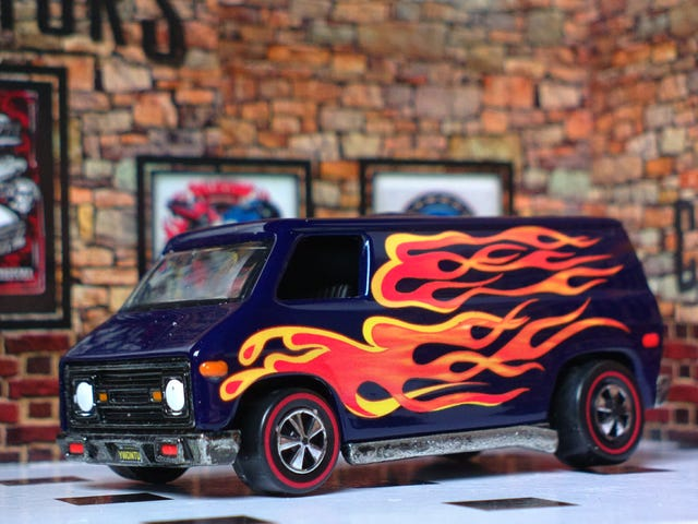 A van in flames