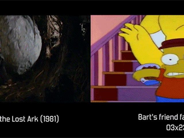Se filmreferencerne, der bruges af <i>The Simpsons</i> Side-By-Side med den faktiske scene (NSFW)